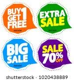 set sale speech bubble banners  ... | Shutterstock .eps vector #1020438889