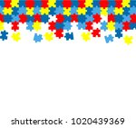 colorful autism awareness... | Shutterstock .eps vector #1020439369