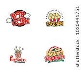popcorn logo set vector   Shutterstock .eps vector #1020441751