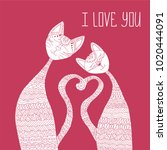 two cats in love. antistress...   Shutterstock .eps vector #1020444091