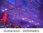 wineglasses and goblets hang... | Shutterstock . vector #1020446821