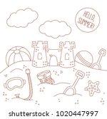 sand castle summer beach toys... | Shutterstock .eps vector #1020447997