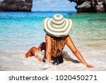 summer lifestyle portrait of... | Shutterstock . vector #1020450271
