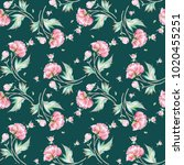 seamless peony pattern with... | Shutterstock . vector #1020455251