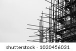 silhouette of scaffolding at...   Shutterstock . vector #1020456031