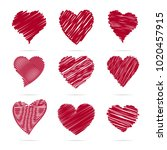set of hearts. hearts of lines... | Shutterstock .eps vector #1020457915