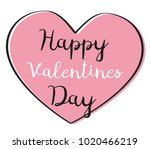 valentines day card with rose... | Shutterstock .eps vector #1020466219