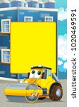 cartoon scene with road roller... | Shutterstock . vector #1020469591