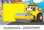 cartoon scene with road roller... | Shutterstock . vector #1020470491