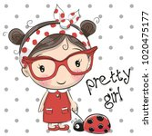 Cute Cartoon Girl With Glasses...