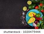 guacamole sauce ingredients  ... | Shutterstock . vector #1020475444