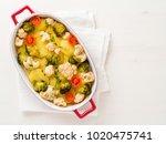 dietary vegetarian dish of... | Shutterstock . vector #1020475741