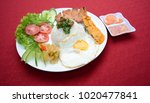 vietnamese broken rice with... | Shutterstock . vector #1020477841