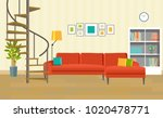 living room with sofa  bookcase ... | Shutterstock .eps vector #1020478771
