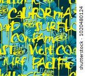 west coast california surfing... | Shutterstock .eps vector #1020480124