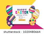 happy easter vector sale banner.... | Shutterstock .eps vector #1020480664