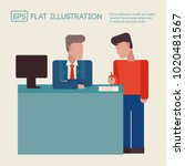 flat illustration of man... | Shutterstock .eps vector #1020481567