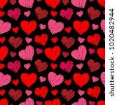 heart hand drawn seamless... | Shutterstock .eps vector #1020482944