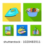 a bowl with laundry  iron ... | Shutterstock .eps vector #1020483511