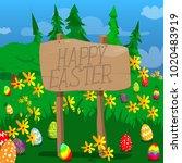 happy easter text on a wooden... | Shutterstock .eps vector #1020483919