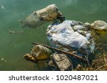 plastic pollution in water.... | Shutterstock . vector #1020487021