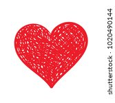 vector hand drawn red heart | Shutterstock .eps vector #1020490144