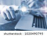 security concept  finger of... | Shutterstock . vector #1020490795