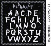 alphabet latin  hand drawn ...   Shutterstock .eps vector #1020491485