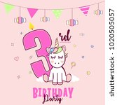 birthday party invitation with... | Shutterstock .eps vector #1020505057