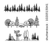 a set of graphic tree... | Shutterstock .eps vector #1020515041