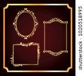 set of vector frames in gold... | Shutterstock .eps vector #1020518995