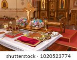 golden crowns and bible and... | Shutterstock . vector #1020523774