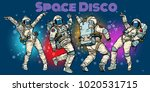 disco party astronauts dancing... | Shutterstock .eps vector #1020531715