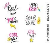 set of feminist motivational... | Shutterstock .eps vector #1020533791