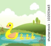 cute duck family in a pond ... | Shutterstock .eps vector #102053665