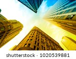 boston skyscrapers from below | Shutterstock . vector #1020539881
