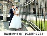 bride hugs groom near stone...   Shutterstock . vector #1020543235