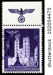 GERMANY - CIRCA 1940: A stamp printed in Germany showing buildings of Poland (Mary's Church, Krakow) , circa 1940 - stock photo