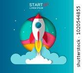 startup   flat design. rocket ... | Shutterstock .eps vector #1020544855
