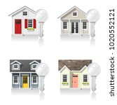 set of small houses and keys... | Shutterstock .eps vector #1020552121