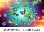 milticolor bingo balls fall...   Shutterstock . vector #1020562681