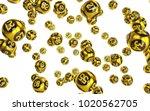 gold bingo balls fall randomly...   Shutterstock . vector #1020562705