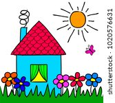 the children's drawing house ... | Shutterstock .eps vector #1020576631