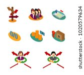 collective icons set. isometric ... | Shutterstock .eps vector #1020579634