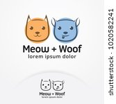 cat and dog logo vector. pet... | Shutterstock .eps vector #1020582241