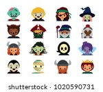 vector cute halloween costume... | Shutterstock .eps vector #1020590731