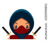 vector cute male ninja colorful ... | Shutterstock .eps vector #1020590851
