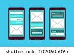 set of three modern mobile...   Shutterstock .eps vector #1020605095