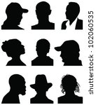 set of silhouettes of heads 3 ... | Shutterstock .eps vector #102060535
