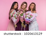 three beautiful girls in...   Shutterstock . vector #1020613129